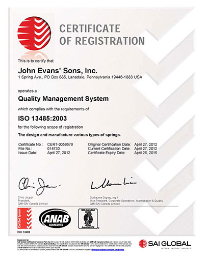 ISO 13485 Certified | John Evans\' Sons Springs