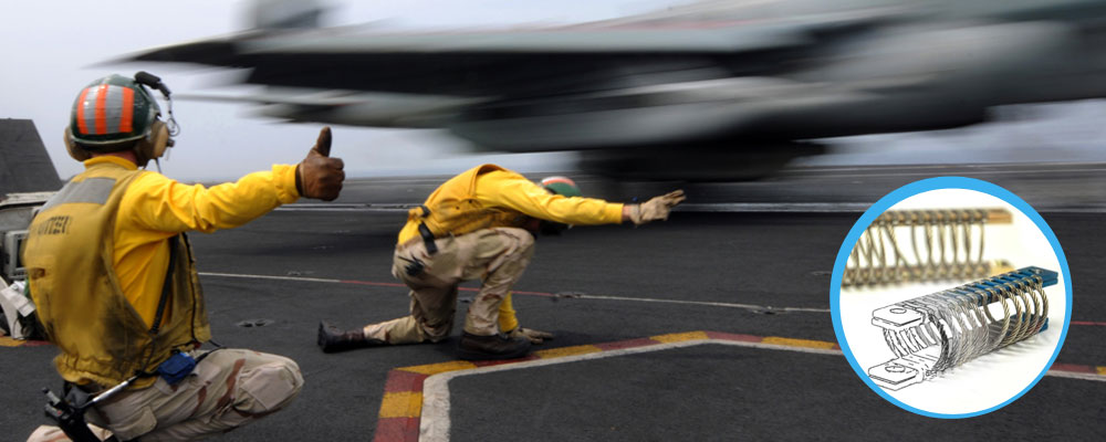 Jet launch from naval carrier with springs for military applications