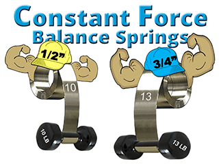 Constant force spring characters lifting weights
